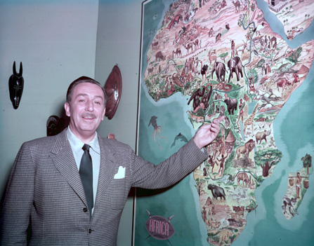 Walt Disney with Map of Africa