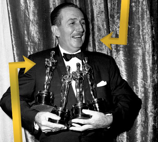 Walt Disney with Oscars Statuettes