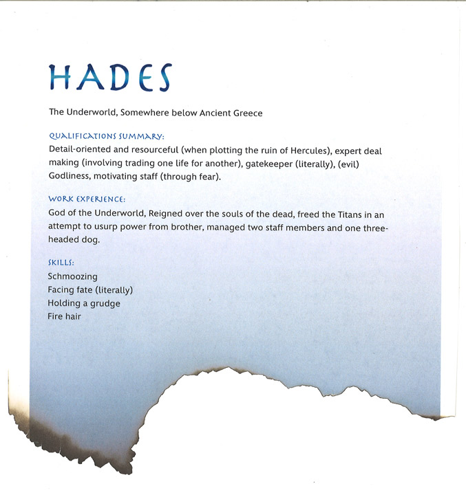 Disney Villain resume Hades from Hercules