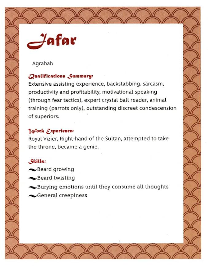 Disney Villain resume Jafar from Aladdin