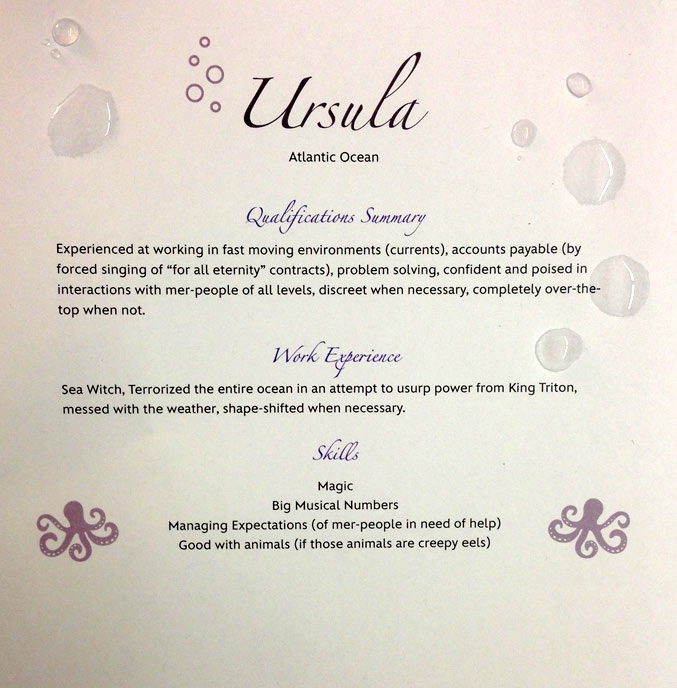 Disney villain resume Ursula from The Little Mermaid
