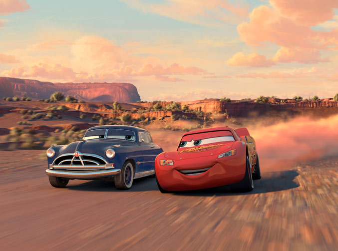 Pixar film, Doc and Lightning McQueen from Cars
