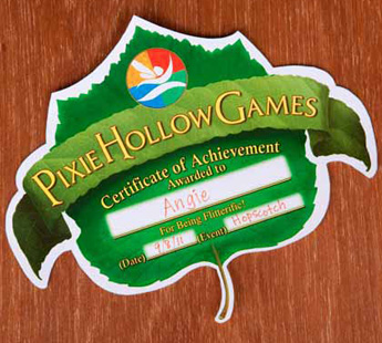 Pixie Hollow Games Certificate of Achievement