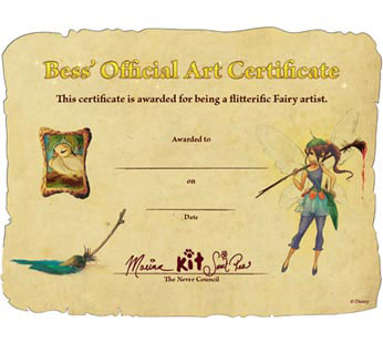Bess' Official Art Certificate
