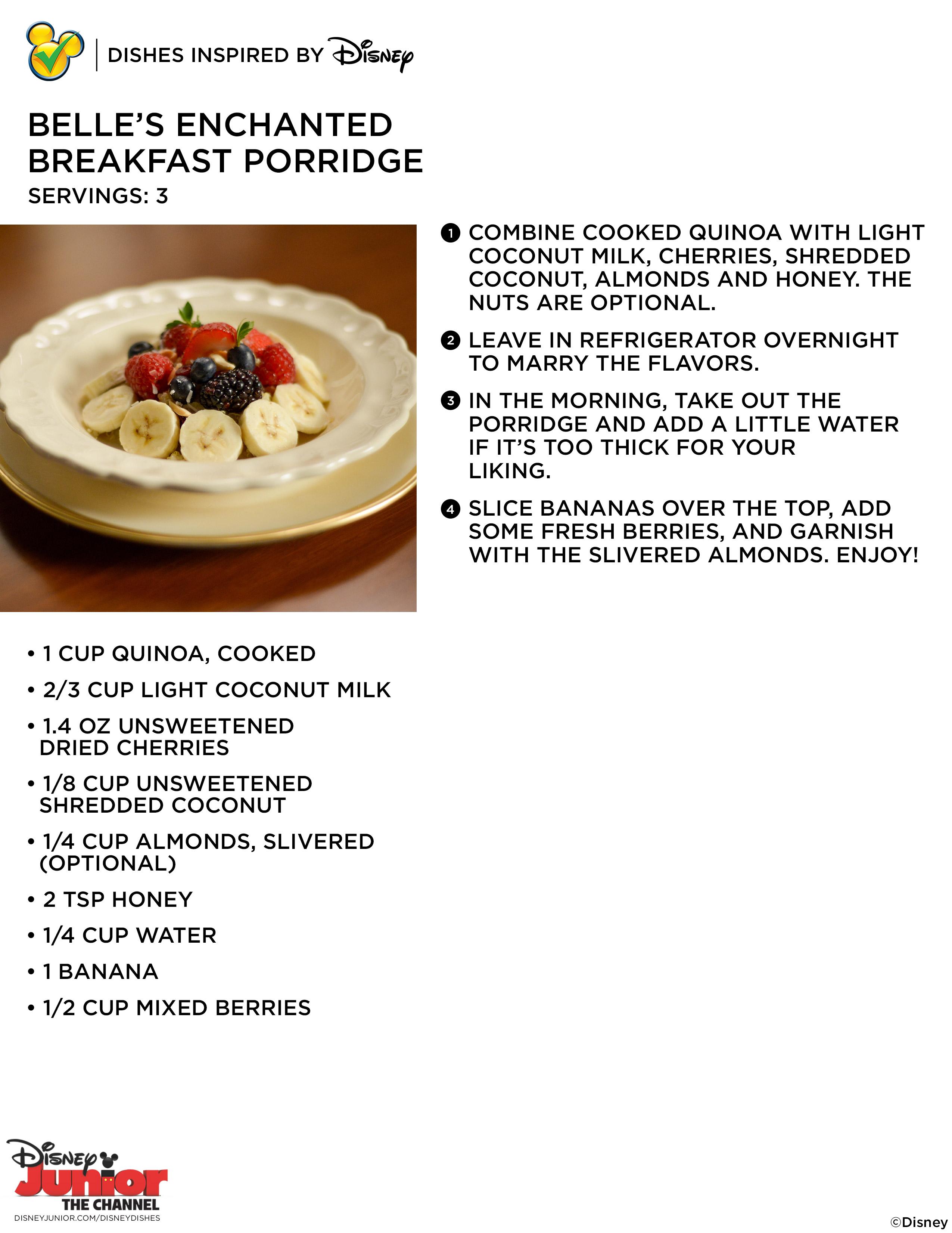 Dishes inspired by disney disney junior for grown ups belles enchanted breakfast porridge forumfinder Choice Image
